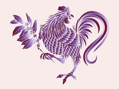 Rooster gradients coffee chicken rooster branding logo design illustration