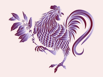Rooster gradients coffee chicken rooster branding logo design illustration