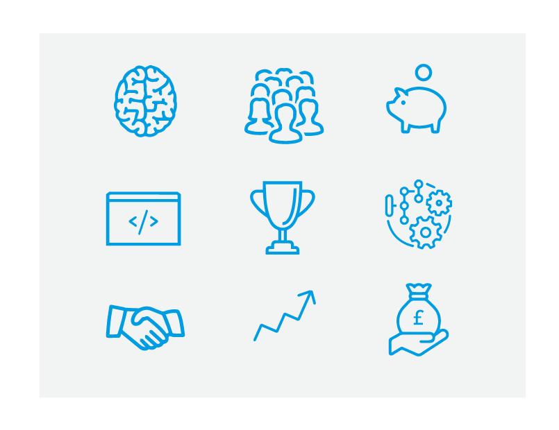 Entrepreneur Report Icons v2 icons infographic illustrations