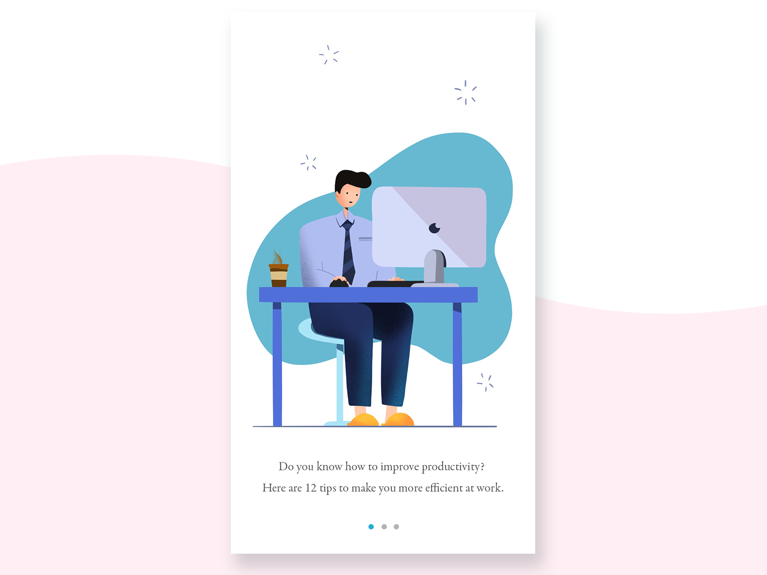 Office worker onboarding uiux mobile working work office office worker app characterdesign procreate illustrator illustration character