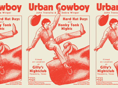 Urban Cowboy gilleys texas hand drawn print riso risograph retro movie poster illustration stipple texture ride horse hat bull rodeo john travolta urban cowboy
