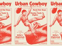 Urban Cowboy gilleys texas hand drawn print riso risograph retro movie poster illustration stipple texture ride horse hat bull rodeo john travolta urban cowboy