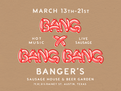 Bang x Bang Bang hot dog sxsw texas austin bbq hand drawn custom display poster matchbook texture print illustration type meat font sausage