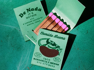 De Nada Matches food mexico texture retro vintage drinking austin texas margarita taco beer matchbook matches illustration armadillo