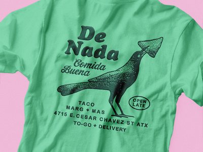 De Nada marg taco mexican food austin texas grackle crow stipple texture screen print shit design illustration retro vintage