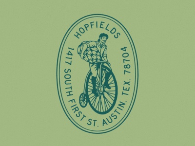 Hopfields brewery restaurant victorian bicycle pennyfarthing design badge beer type austin texture rough vintage texas illustration