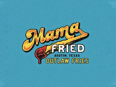 Mama Fried Logo stippling stipple script logotype hand drawn fries food truck logo design austin texture retro rough vintage texas illustration