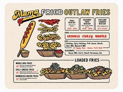 Mama Fried Menu restaurant layout type stippling stipple hand drawn hot dog corndog french fries menu design austin retro texture rough texas vintage illustration