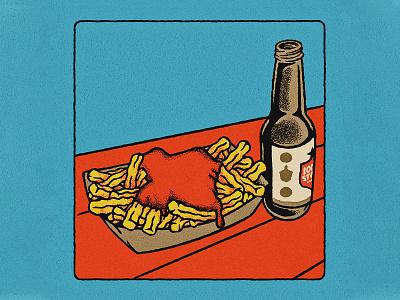 Mama Fried Illustration mural restaurant hand drawn food trailer french fries lone star beer armadillo design austin texture retro rough texas vintage illustration