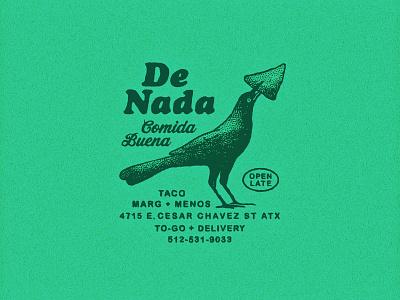 De Nada Cantina Marks branding restaurant tortilla queso chips mexican food hand drawn bird grackle type lock up logo design austin texture retro rough texas vintage illustration