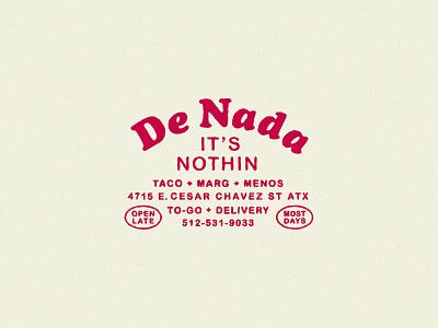 De Nada Cantina Marks 70s round cooper simple hospitality branding restaurant badge type lockup logo design austin texture retro rough vintage texas