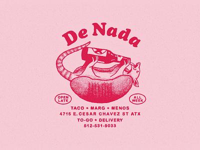 De Nada Cantina Marks hand drawn 70s mark hospitality type lock up branding restaurant bar beer mexican food armadillo logo design austin texture retro rough texas vintage illustration