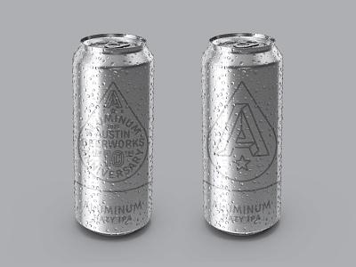 Aluminum Anniversary silver anniversary beerworks typography type monoline badge lock up label craft beer chrome aluminum matte logo design austin texture retro texas