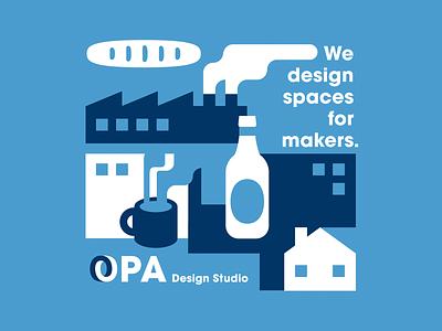 OPA Design buildings shapes sans swiss modern clean simple negative space minimal geometric illustration logo design austin retro texas