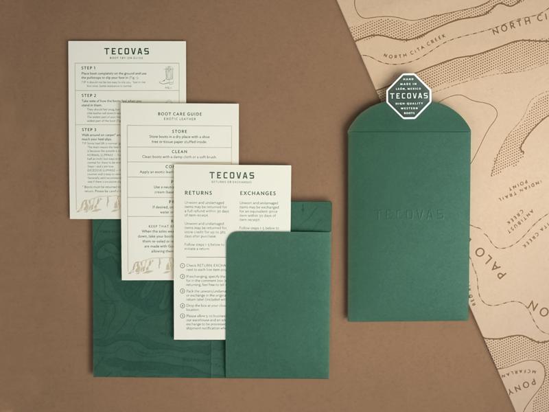 Tecovas packaging design mesa dersert texas pattern wrap illustration rough map topographic envelope unboxing paper system
