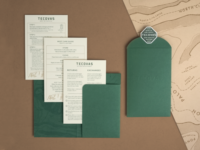 Tecovas packaging design mesa dersert texas pattern wrap illustration rough map topographic envelope unboxing paper system