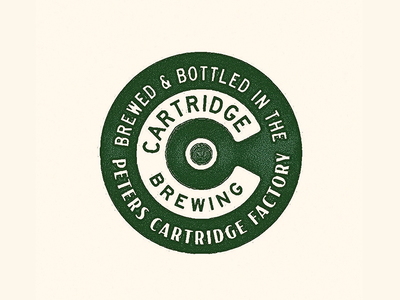 Cartridge rough print retro vintage c branding beer round type logo badge texture factory shotgun brery cartridge