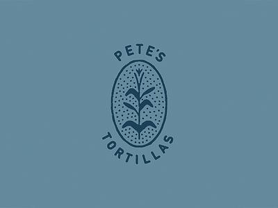 Pete's icon handmade retro stamp print rough dots logo badge tortilla stalk corn