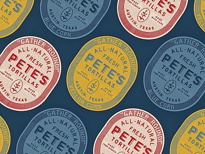Pete's Tortillas taco texas oval badge mark brand logo rough vintage corn label tortilla