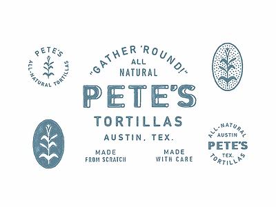 Pete's Tortillas contact logo corn print rough retro austin texas tortilla shirt badge lockup vintage type texture