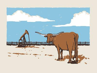 Bullshit poster west farm ranch bullshit shit cow bull longhorn design texas vintage texture illustration rough