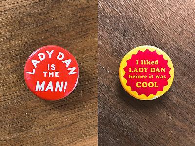 BUTTONS pin fun rough vintage lady dan band music button retro 70s
