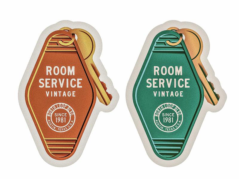 Room Service austin texas austin redesign illustration rough grain texture modern midcentury midmod badge type sticker keychain throwback retro key hotel vintage
