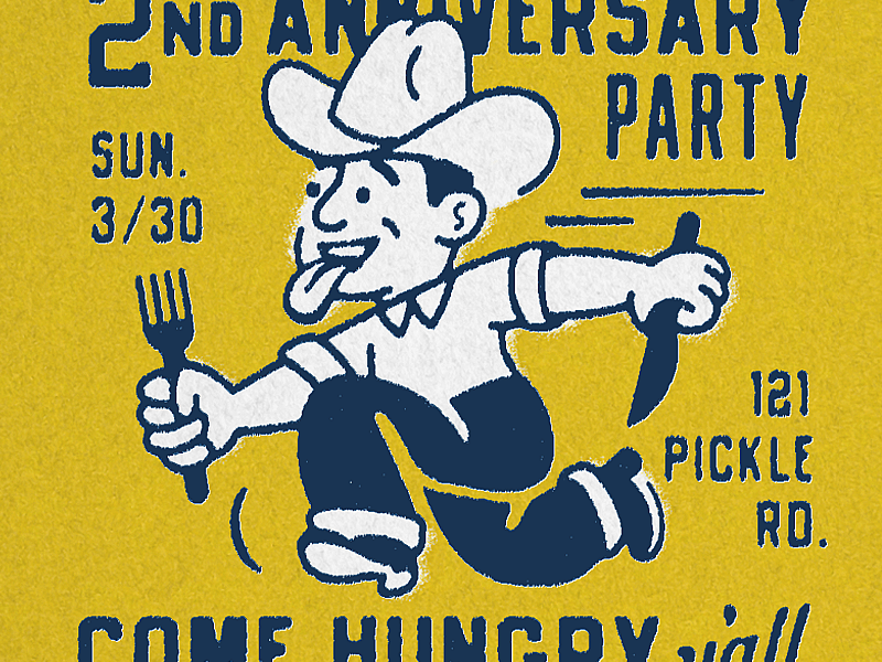 2nd mid century midmod meat texas bbq cowboy vintage type illustration retro texture matchbook rough