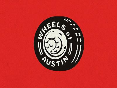 Wheels old rough simple illustration badge type word icon mark logo texas austin wheel tire texture retro vintage motorcycle car classic