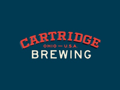 Cartridge historic retro vintage brewery beer texas red navy illustrated 3d dimensional arch badge lockup type logo branding