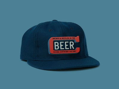 Cartridge Hat type lockup logo design brewing brewery beer throwback retro felt stitch patch vintage ebbets hat
