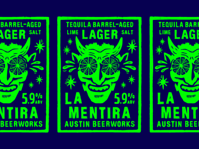 Tequila Barrel-Aged Lime + Salt Lager hell neon lime devil cut wood woodcut letters type custom vintage illustration drawn hand texture rough print label beer linocut