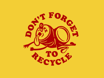 Recycle texas austin can beer circle type recycle lockup badge 60s 50s throwback bitstream black cooper illustration mis century mascot retro cartoon