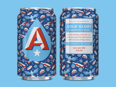 Cold Glory workshop helms austin party celebration 4th of july fire works monster trucks blue white red america design can packaging branding beer texas