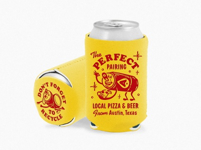 Pizza + Beer beerworks hand drawn rough deign illustration cartoon character throwback retro mid century austin texas can mascot 60s 50s koozie beer pizza