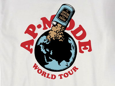 Thos Beans world tour thinkin bout thos beans beer pour illustration tee throwback retro vintage texas austin concert band shirt world globe beans