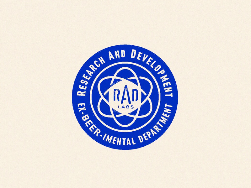R.A.D. print ink texture stamp distressed typography type circle badge mark logo illustration atomic texas beerworks austin brewery beer lab science