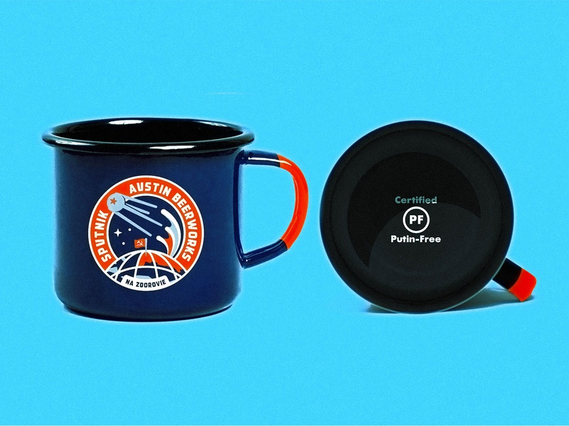 Kaput-nik Mug earth soviet vintage type illustration beerworks design glass beer cut camp mug badge kosmonaut russian outer space texas austin