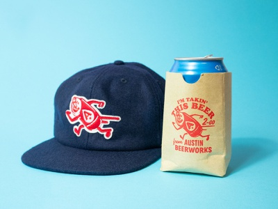 Beer to-go patch wool koozie hat charachter austin retro vintage running cartoon icon can mascot beer