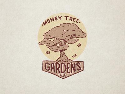 Money Tree Gardens typography illustration money tree gardens