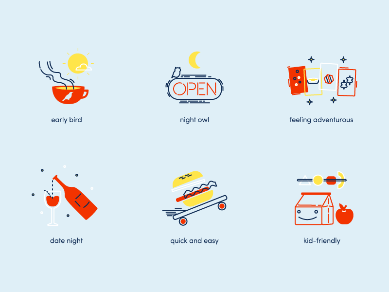 Feeling Hungry food vector illustrations app icons