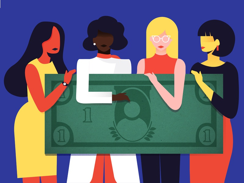 Equal Pay for All Women illustration ethnicities women all pay equal