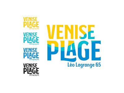Logo - Venise Plage branding beach font yellow blue logo