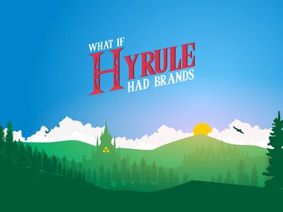Landscape - What if Hyrule had Brands ? castle triforce landscape illustration red blue hyrule link zelda the legend of zelda