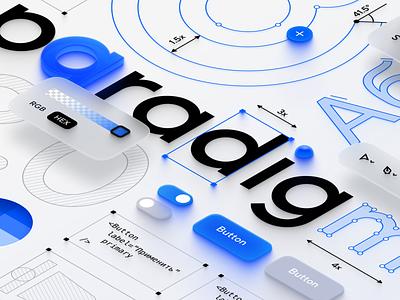 Paradigm 2.0 white glay blue illustration isometry concept art ui design system digital art art direction