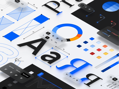 New visual language for Paradigm 2.0 white branding blue design system ui illustration art direction isometry digital art concept art