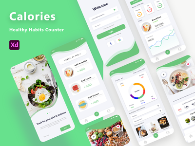 Calories Counter App food app android app design health and beauty counter calories counter health calories ui ux app health ui ui