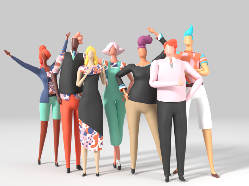 3D Character Lineup characters patterns bank low poly c4d 3d