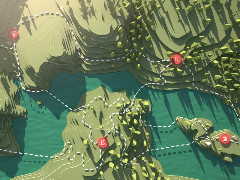 Topographic Fjord 3d low poly water sea trees fjord topography c4d