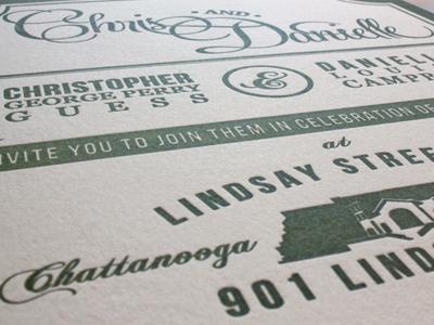 Letterpress Wedding Invitation letterpress wedding invitation chattanooga tennessee chris danielle november